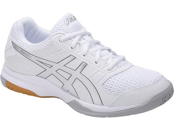 Asics Gel Rocket  Womens Silver Black Court Shoes