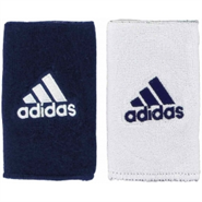 Adidas Interval Reversible Double Wristbands (White/Navy)