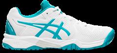 Asics Gel Resolution 8 GS Junior Shoe (White/Lagoon)