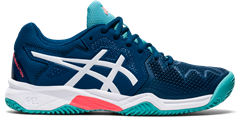 Asics Gel Resolution 8 GS Junior Shoe (Mako Blue/White)