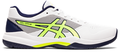 Asics Gel Game 7 Men's Tennis Shoe (White/Safety Yellow)