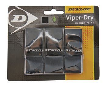 Dunlop Viper Dry Overgrips 3 Pack (Black)