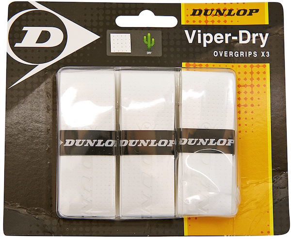 Dunlop Viper Dry Overgrips 3 Pack (White)