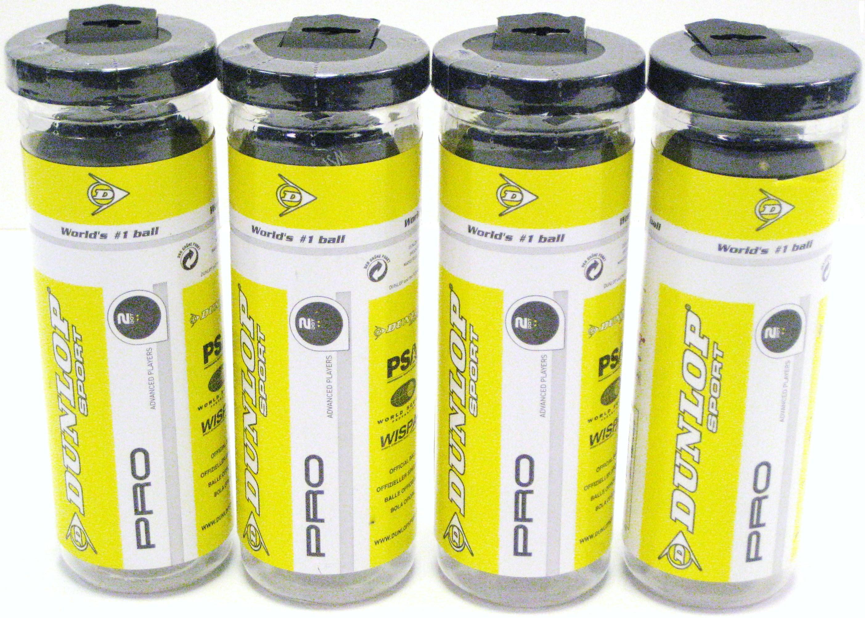 Dozen Dunlop Pro Double Yellow Dot Balls - 4 Tubes