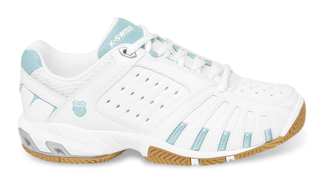 K-Swiss Forecourt Women's Shoe (White/Light Blue) - ONLY SIZE 10 LEFT IN STOCK