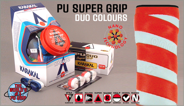 12 Karakal PU DUO Super Grips (Assorted Colors)