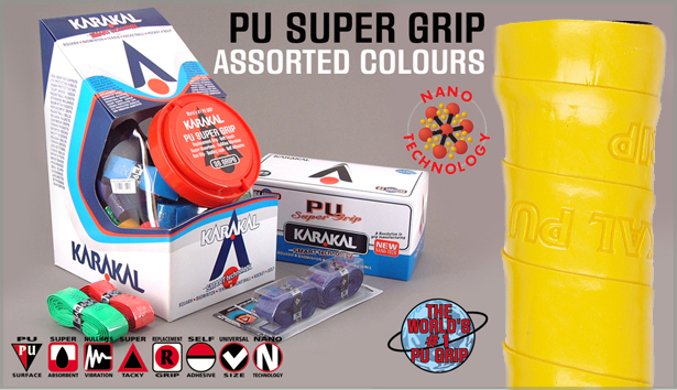 12 Karakal PU Super Grips (Assorted Colors)